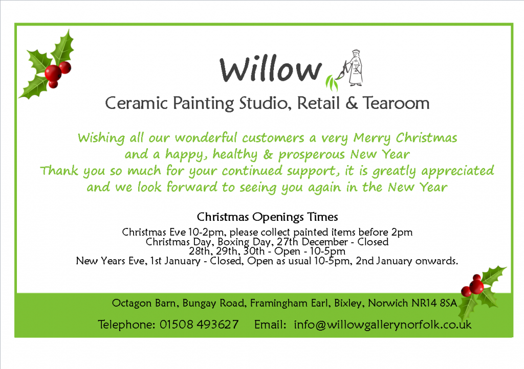 Christmas Opening Times - Website